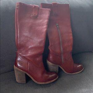 Frye tall oxblood heeled boots